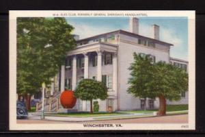 Virginia Postcard Elks Club Sheridan's HQ Winchester