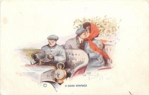 Artist Signed~A Good Sparker~Goggle Driver~Couple Kiss~Back Seat~Vintage Car
