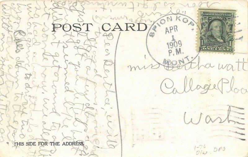San Francisco California 1906 Disaster Postcard Fire Spion Kop Montana DPO
