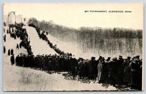 Glenwood Minnesota~Ski Tournament~Crowd Gathered by Snow Ski Jump~Jumper~1918