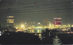 SINGAPORE, 1940-1960's; Singapore Cable Car, Night Scene