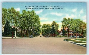EAST ORANGE, New Jersey NJ ~ Street Scene PARK AVENUE c1940s Linen Postcard