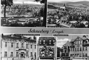 Germany Schneeberg Erzgeb. Gesamtansicht Wappen am Rathausturm Am Bergmannsbrunn