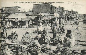 PC CPA INDIA, CHANDERNAGOR, HALTE DE PAYSANS HINDOUS, Vintage Postcard (b13730)
