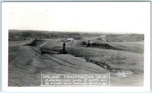 RPPC  FORT PECK DAM , Montana MT   SPILLWAY CONSTRUCTION ca 1930s    Postcard