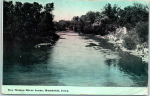 Humboldt, Iowa Postcard Des Moines River Scene w/ 1914 Stanhope IA Cancel