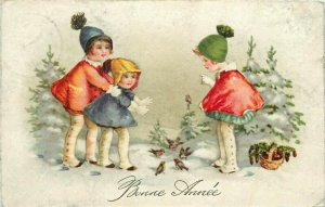 New Year Children Winter Games Birds Fantasy Vintage Postcard Bonne Annee