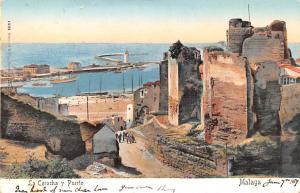 Spain Old Vintage Antique Post Card La Coracha y Puerto Malaga Writing on back