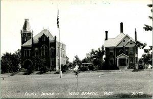 Vtg Postcard 1940s RPPC West Branch Michigan MI Ogemaw County Courthoue UNP