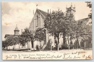 Watertown Wisconsin~St Henry's Church~Will Expect You Soon~1907 Rotograph PC