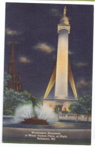 Baltimore MD Washington Monument Night Linen postcard