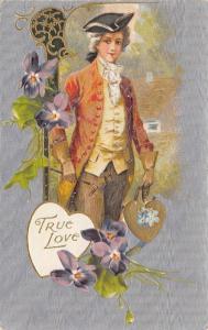 Valentine~Regency Gentleman Carries Gold Heart~Art Nouveau~Silver Back~Winsch