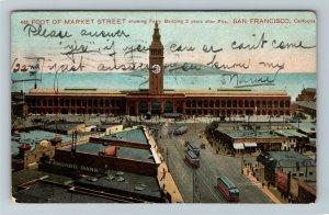 San Francisco CA, Foot Of Market Street, Vintage California c1912 Postcard