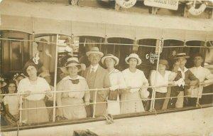 Croatia Rijeka Fiume ship tourists snapshot photo dated 1914 Abbazia Opatija