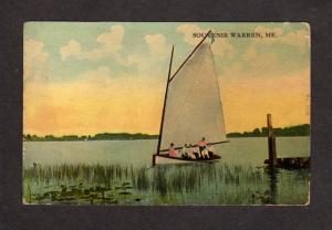 ME 1913 Souvenir Warren Maine Sailboat Vintage Postcard Carte Postale