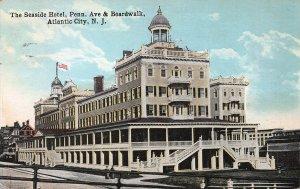 The Seaside Hotel, Penn. Ave. & Boardwalk, Atlantic City, Early Postcard, Used