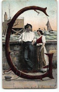 Alphabet E.L. Series 994 LETTER G - Romance By the Sea Wall - 1908 Postcard