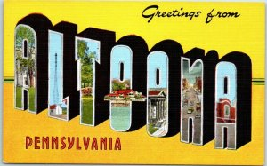 ALTOONA, Pennsylvania  Large Letter Postcard Multi-View KROPP Linen 1940s Unused
