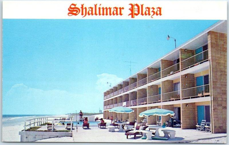 Panama City Florida Postcard Shalimar Plaza Motel Apartments Beach Scene C1960s
