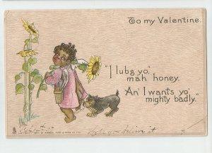 Tuck's Valentine ~ Artist Signed E Curtis ~  Black Americana Postcard ~ 1907