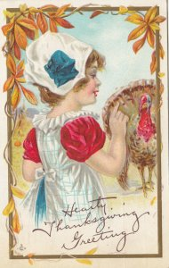 HEARTY THANKSGIVING Greeting; PU-1913; Girl pointing at wild turkey