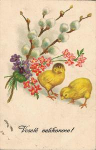 Happy Easter Chicks with flowers 02.89