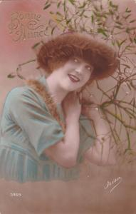 RP; Hand-tinted, Bonne Annee, Attractive young posing with a fur hat on, 00-10s