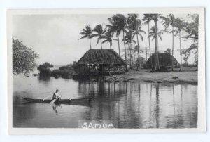 RPPC of a Man in Canoe & Samoan Houses, Samoa
