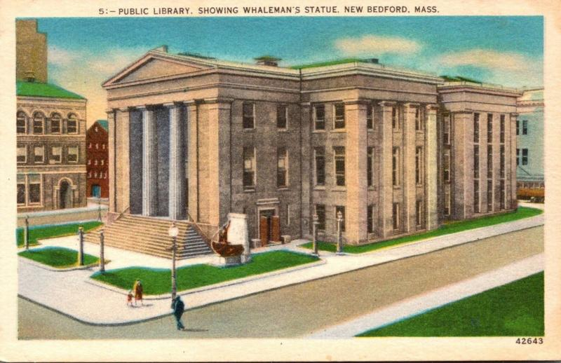 Public Library Showing Whaleman's Statue New Bedford Massachusetts