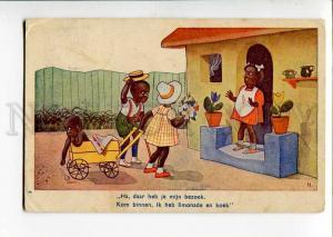 270583 BLACK AMERICANA Kids Greeting by N. Vintage postcard