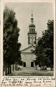 Vincennes Indiana~St Francis Xaviers Catholic Church~1905 B&W Postcard