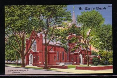South Carolina colour PC St Mary's Church Greenville, unused