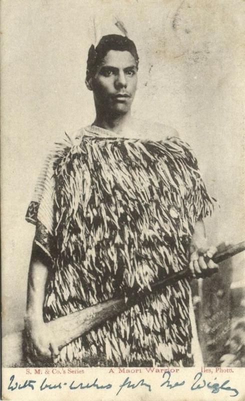 new zealand, Native Maori Warrior with Club (1903)
