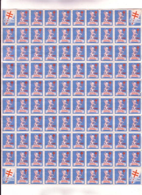 Full Sheet, 100 Christmas Seals, 1941