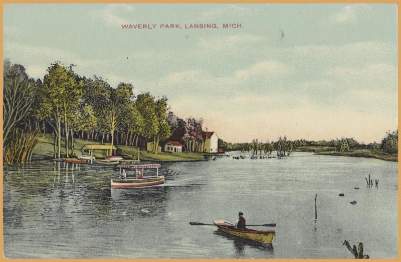 Lansing, Mich., Waverly Park., Pond with row boats, launch.