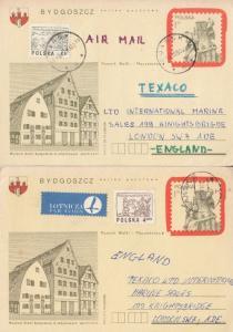 Polish 1980s Child Writes To Texaco Petrol Garage 2x Poland Postcard s