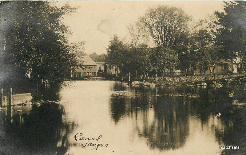C-1910 Canal Saugus Massachusetts RPPC real photo postcard 7993