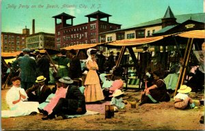 Vtg Postale 1909 - Guilleret Fête sur Le Plage - Atlantic Ville Neuf Jersey Nj