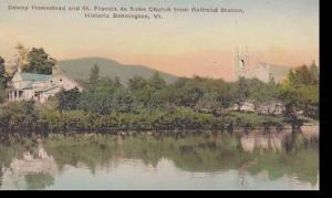 Vermont Bennington Dewey Homestead and ST.Francis de sales Church from Railro...