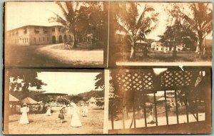Vintage RPPC Real Photo Postcard Multi-Vie Palm Trees Band Stand c1910s Unused