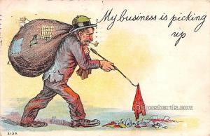 Smoking Old Vintage Antique Post Card Business is picking up 1908