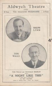 A Night Like This Tom Walls Comedy  Aldwych London Theatre Programme