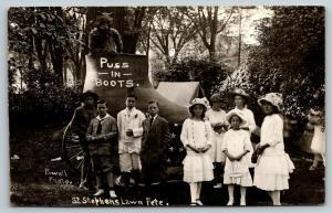 Oil City* PA RPPC~St Stephen's Lawn Fête~Kids @ Mean Puss N Boots Display~c1911
