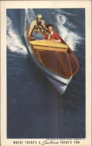 Johnson Sea Horse Boat Motors Mahogany Power Boat Adv Postcard