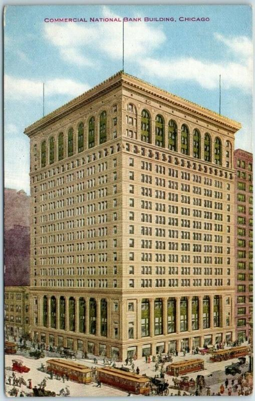 1910s Chicago Illinois Postcard COMMERCIAL NATIONAL BANK BUILDING Street View