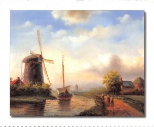 Postcard Art Dutch Windmill on River Bank, Holland, Netherlands #401