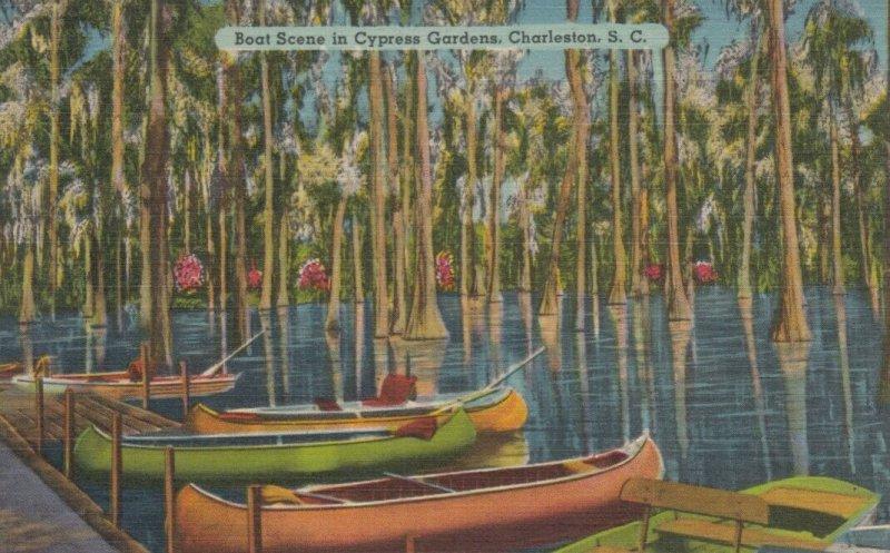 CHARLESTON, South Carolina, 1930-40s; Boat Scene in Cypress Gardens