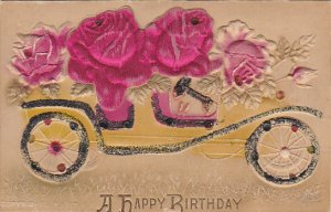 Happy Birthday Car With Red Roses 1913 Embossed