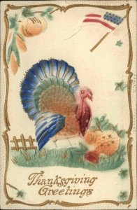 THANKSGIVING Turkey at Fence AIR BRUSHED c1910 Postcard