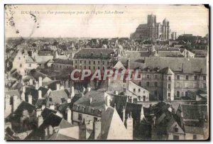 Old Postcard Bourges Panoramic View from Notre Dame Church I